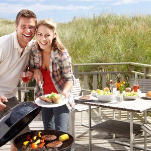 Keeping grills several yards from your home is ideal when barbecuing.