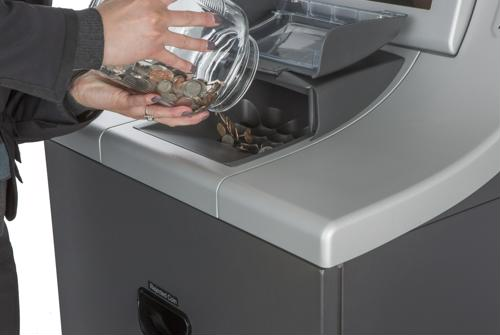 Supermarkets should combine self-service coin counters with digital ads