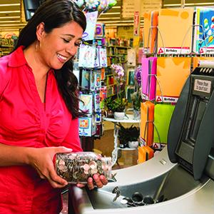 Keep shoppers in-store with self-service coin counters