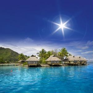 Villas stretch over the beautiful lagoon in Bora Bora. - Scenic Beauty Travel News