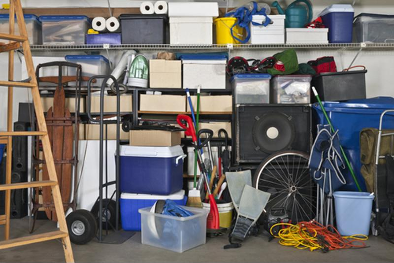 Clear up the clutter! Install shelving units in your garage.