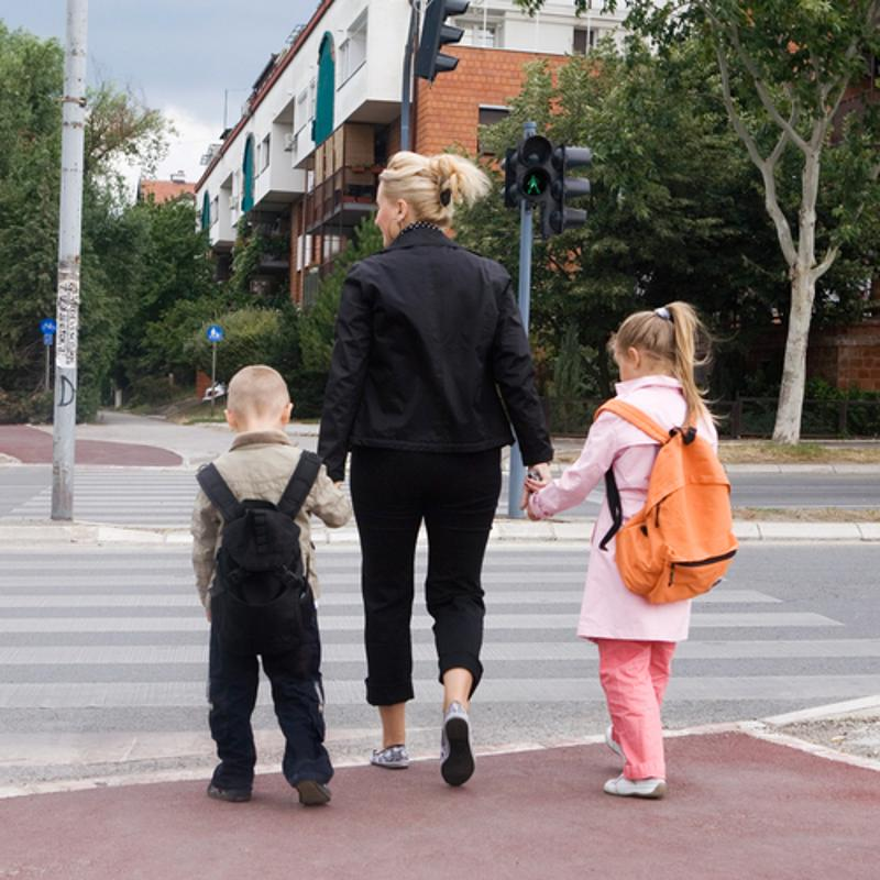 Yield to pedestrians in crosswalks, especially if there are children in the group.