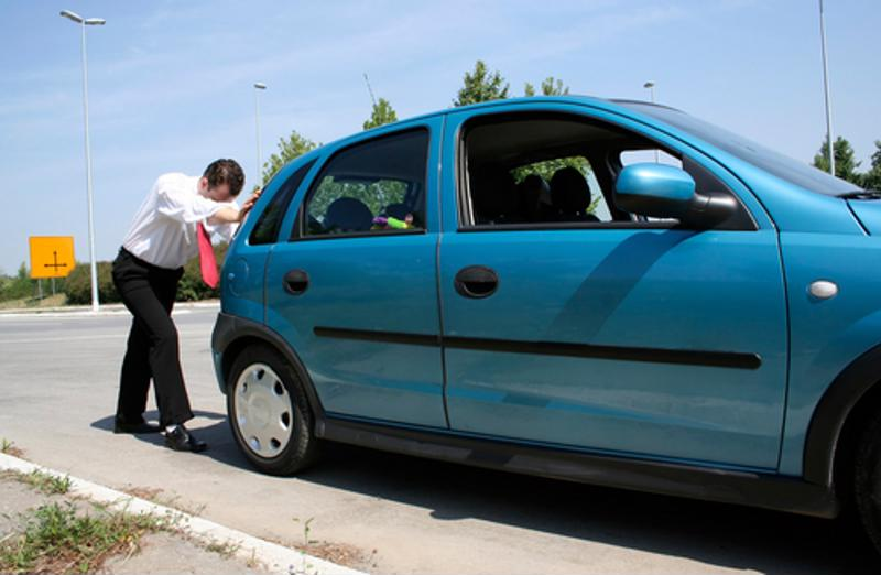 Make sure you're in a safe, low traffic area when exiting a broken down car.
