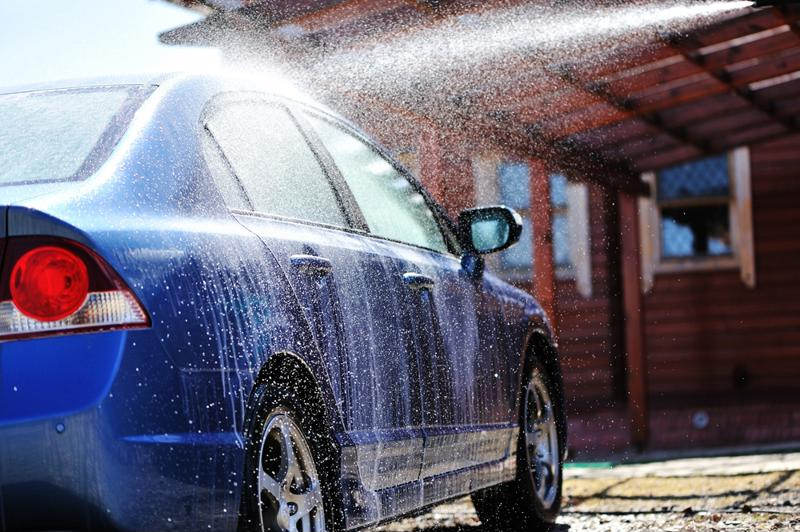 Washing a car is an essential part of maintenance.
