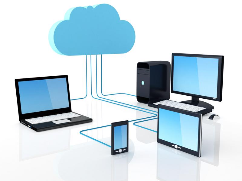 Various devices connected to cloud computing.