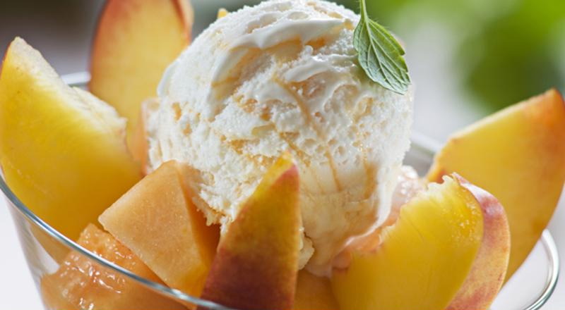 Peaches go great with vanilla ice cream.
