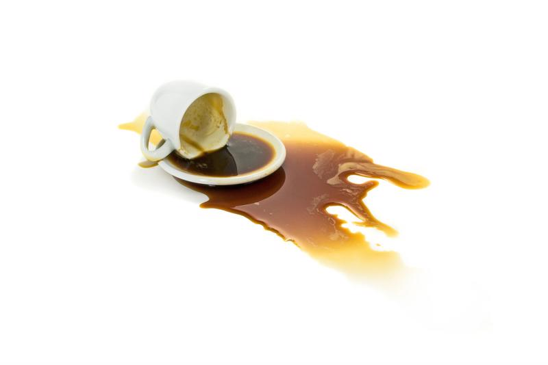 Create the illusion of spilled coffee.
