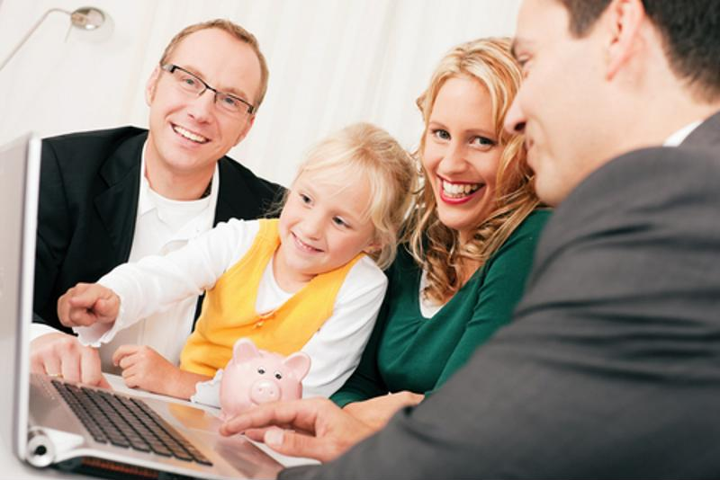 A family meets with a financial adviser.