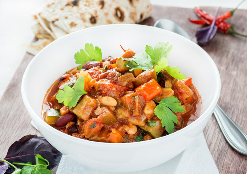 Chili is a tasty side dish for an outdoor party.