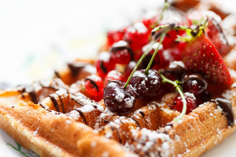 Top your homemade waffles with something tasty.