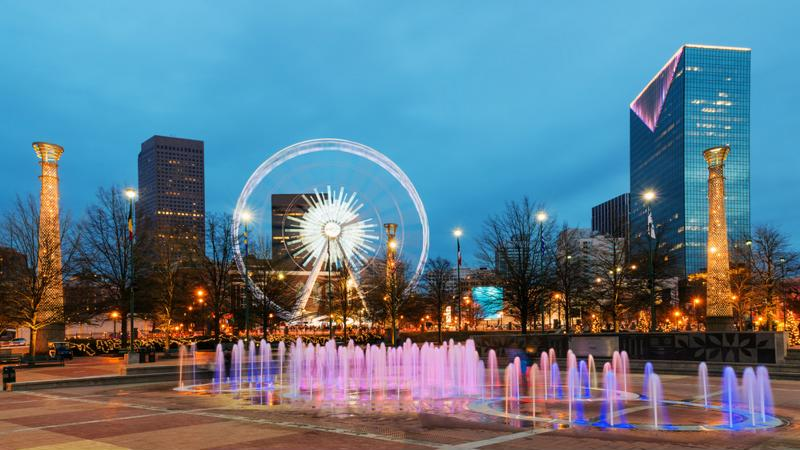 Downtown Atlanta is the perfect location for an after dinner stroll.