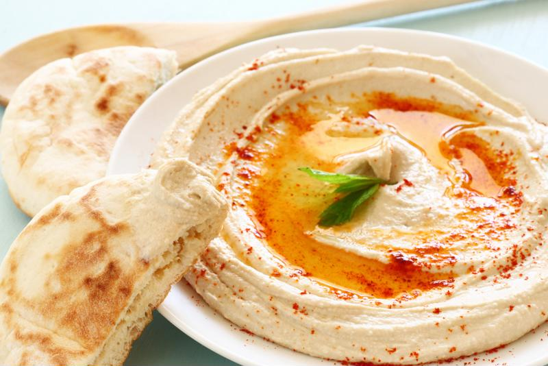 Bring homemade hummus for a tasty and smart treat.