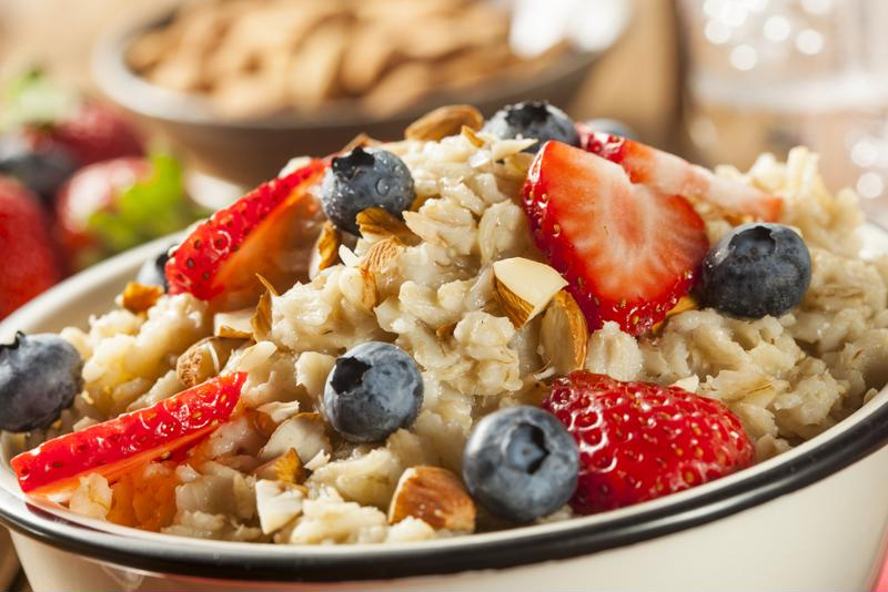 Top your oatmeal with fresh fruit.