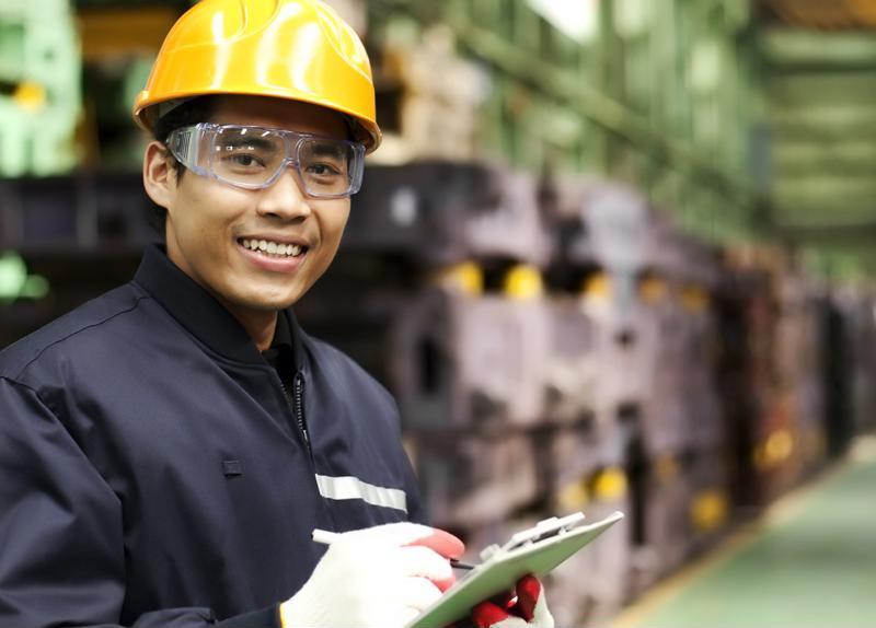 A worker wearing a hardhat.