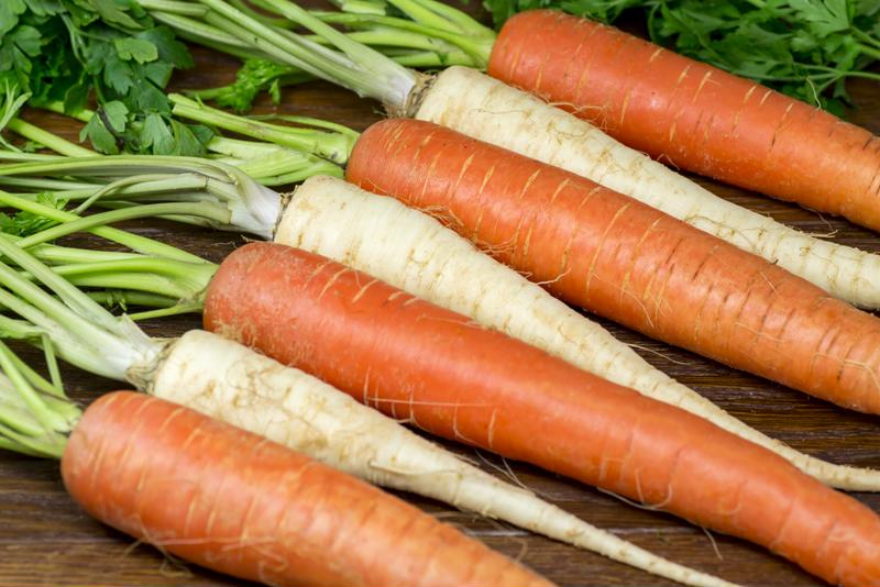 Wash and cut your carrots and parsnips.