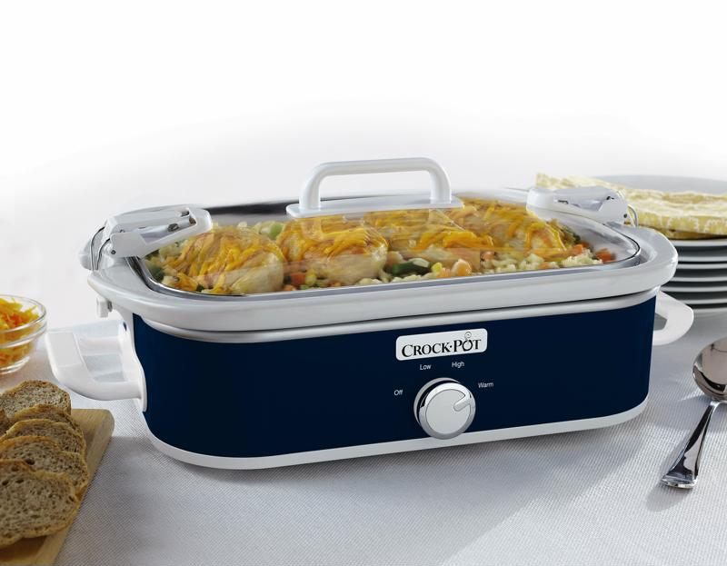 Slow cookers like the Crock-Pot® Casserole Crock Slow Cooker have latches that keep your food sealed during transport.