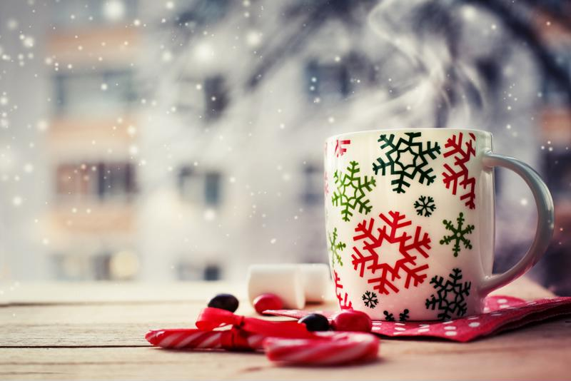 Cozy up inside with a mug of hot chocolate and watch the snowflakes fall.