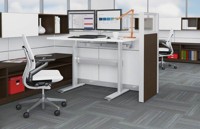The Herman Miller Renew sit-to-stand rectangular table is just one of the many adjustable height desks by this brand.