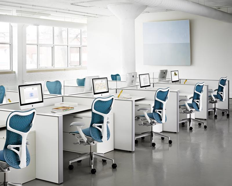 Ergonomic office chairs such as the Herman Miller Mirra 2 promote good posture and support the spine's curvature.