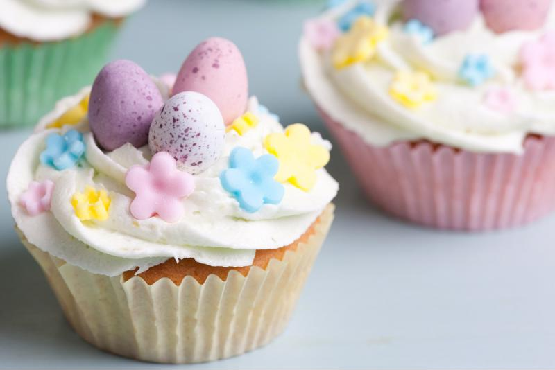 With toasted coconut flakes, these bright spring cupcakes look even more festive.