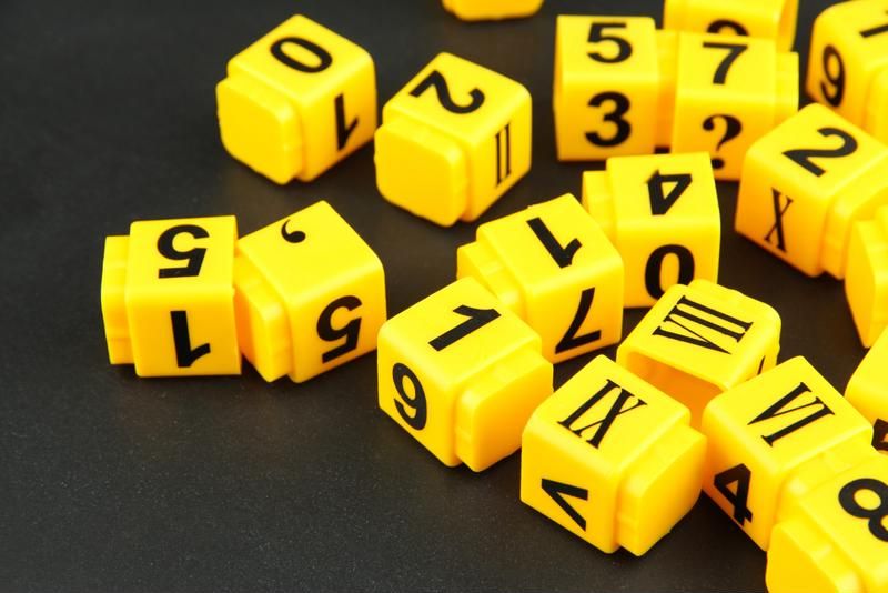 yellow number cubes