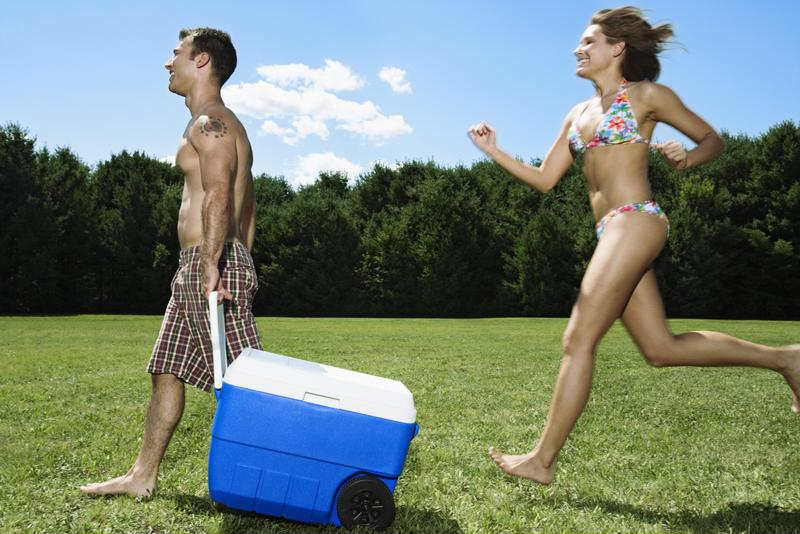 Don't forget the cooler for your day at the beach.