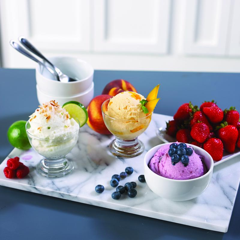 Enjoy homemade ice cream with fruit.