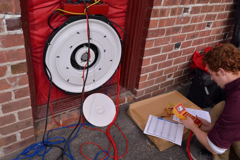 The blower door test in action.