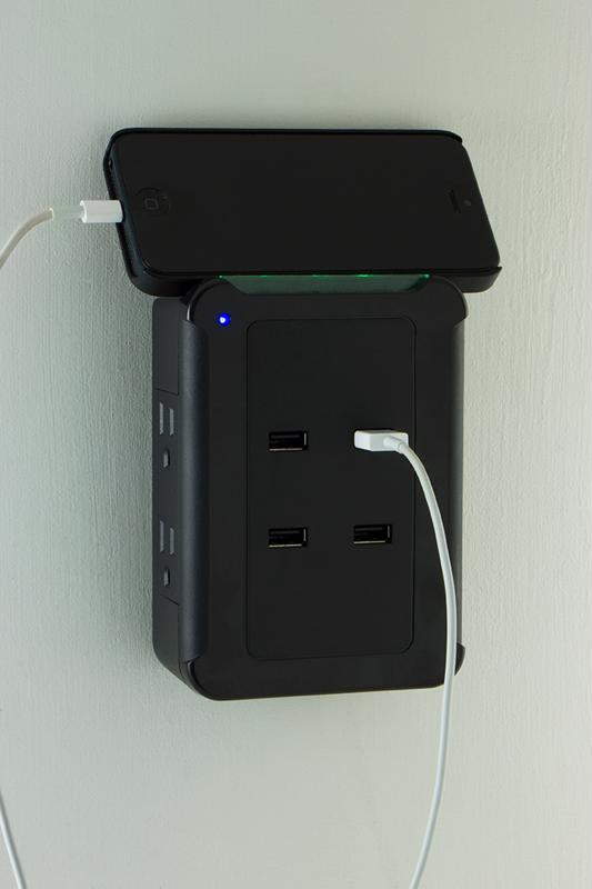 The GE Charging station is perfect for small spaces or for traveling.