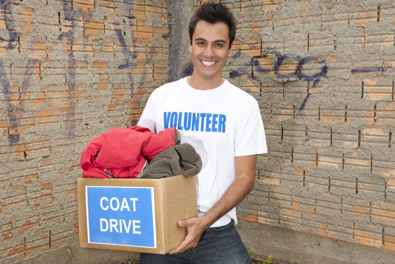 Give your unwanted jackets to a volunteer at a local coat drive to help someone in need.