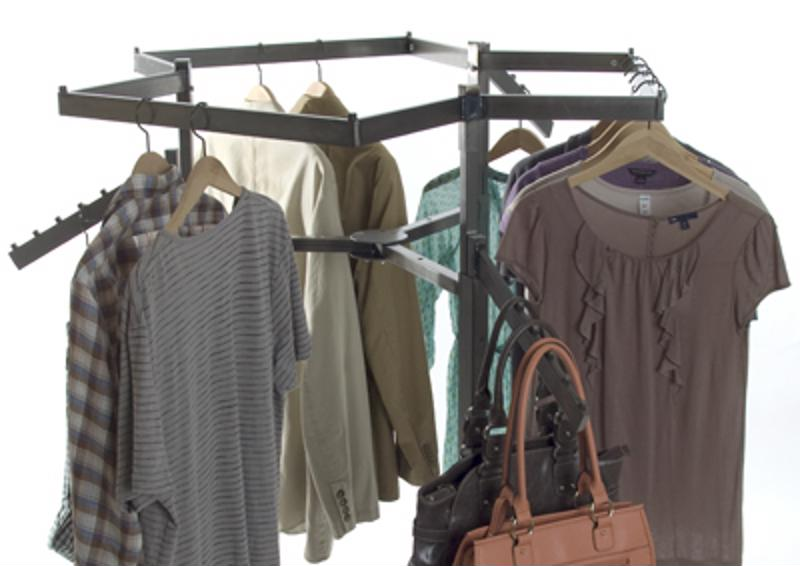 Clothing racks are great tools for visual merchandising.