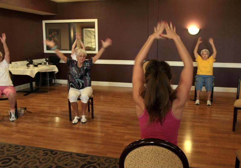 seniors exercising, exercise, class, assisted living
