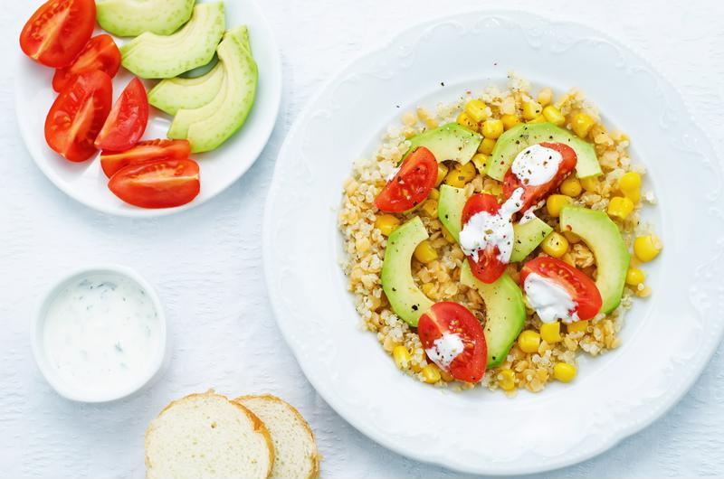 This quinoa is a light meal that's perfect when topped with avocado.