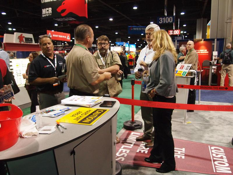Visitors to NMC's booth received red carpet treatment.