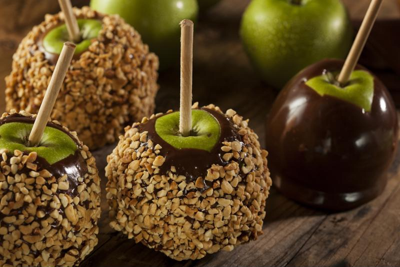 Set up a do-it-yourself candy apple bar at your Halloween party.
