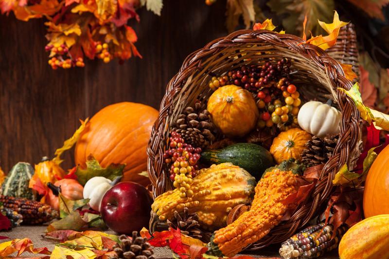 Cornucopias symbolize a good harvest.