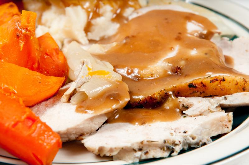 Making the turkey and gravy ahead of time will save you tons of time on Thanksgiving.