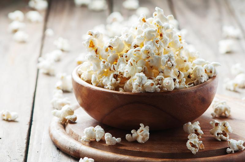 A bowl of popcorn.