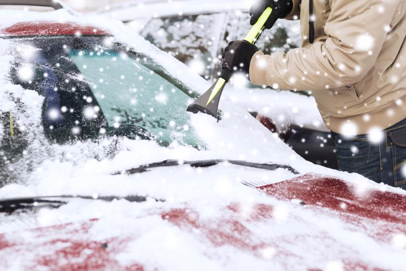 Make sure to put a snow brush and ice scraper in your car before the first snow.