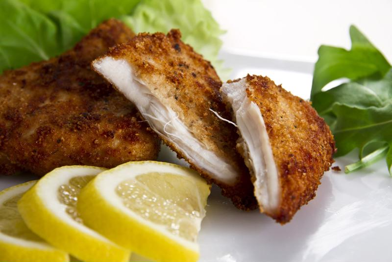 This breaded chicken tastes fried, but has fewer calories.