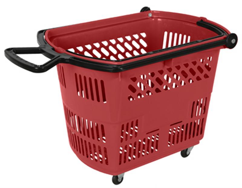 Rolling shopping baskets make it easier to tote around more items.