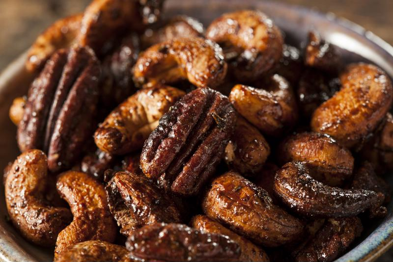 The aroma of these candied pecans and cashews slow cooking will make your home smell amazing.