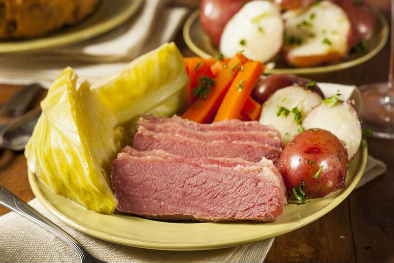 Corned beef and cabbage is great traditional Irish food.