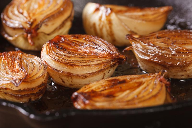 Caramelized onions cooked to perfection are an excellent topping for almost any casserole.