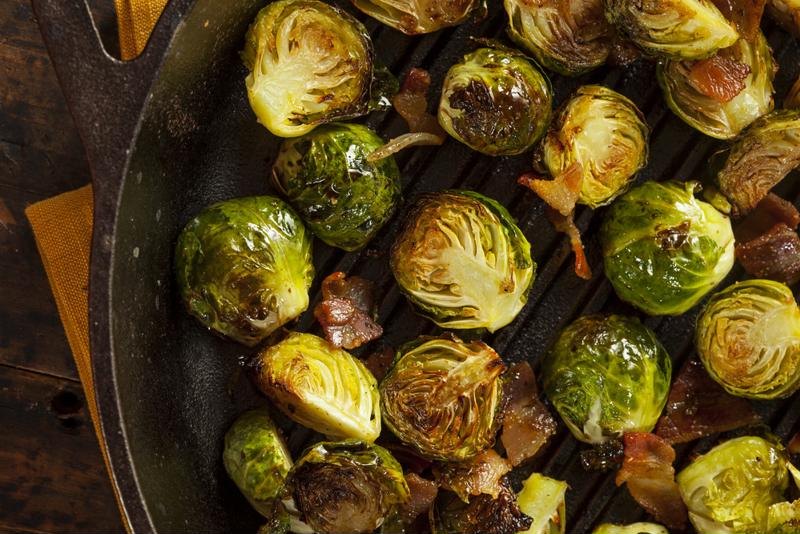 Glazed brussels sprouts with bacon are downright delicious.