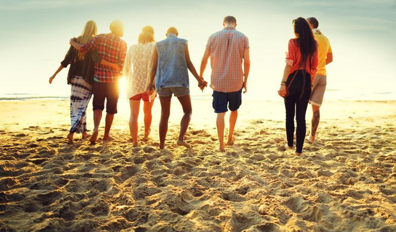 Friends on beach.
