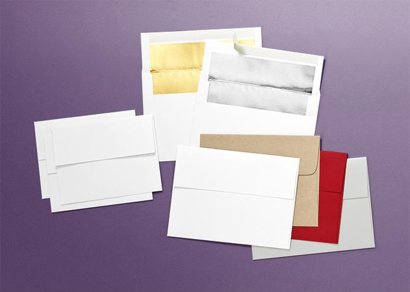 Choose from standard heavy white vellum, white gold lined, white silver lined, brown Kraft recycled, white pearl and ice pearl metallic.