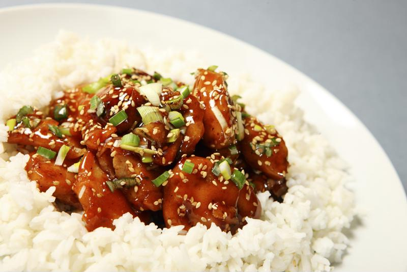 This honey sesame chicken serves great over rice.