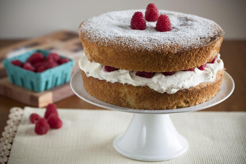 This raspberry sponge cake is a sweet and delicious treat.
