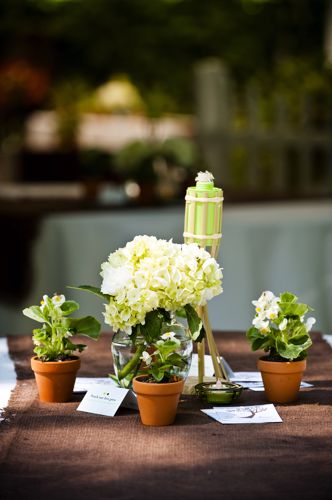 Have your wedding favors and centerpieces serve double duty.
